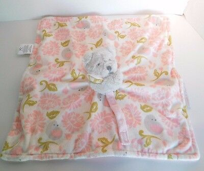 Blankets & Beyond Gray Bear Pink Gray Green Security Blanket Lovey