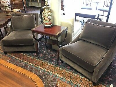 Pair of Slipper Chairs Baker Furniture Co. Mohair Upholstery
