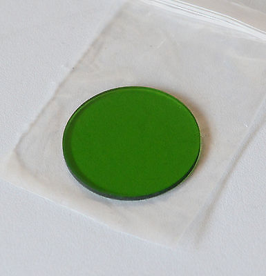 Quality 32mm Green Glass Filter for Microscope, Approx 1.75mm Thick, New in Bag.