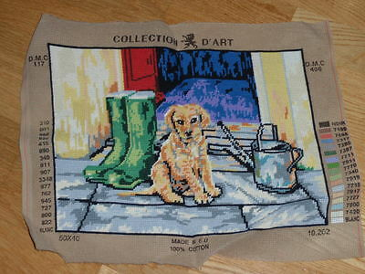 PUPPY WITH WELLINGTONS COLLECTION D'ART COMPLETED TAPESTRY CANVAS 40 x 30cm