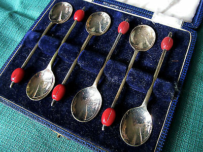 CUCCHIAINI chicco caffè anni 20/30 EPNS coffee bean spoons red french bakelite