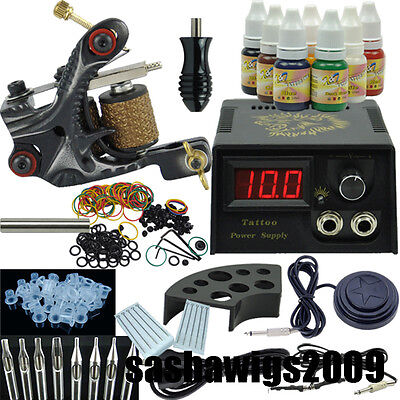 One Tattoo Motor Machine Gun Tattoo Kit 7 Colour Pigment with Grip Needles