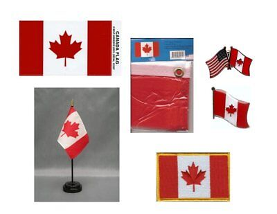 Canada Heritage Flag Pack - Belgian 3x5 Flag, 2 Lapel Pins, Vinyl Decal