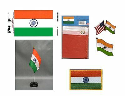 India Heritage Flag Pack - Indian 3x5 Flag, 2 Lapel Pins, Vinyl Decal