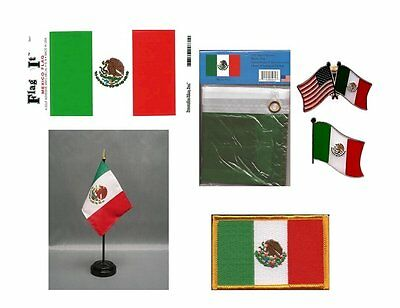Mexico Heritage Flag Pack - Mexican 3x5 Flag, 2 Lapel Pins, Vinyl Decal