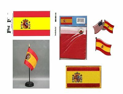 Spain Heritage Flag Pack - Spanish 3x5 Flag, 2 Lapel Pins, Vinyl Decal
