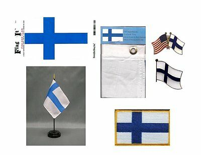 Finland Heritage Flag Pack - Finland 3x5 Flag, 2 Lapel Pins, Vinyl Decal