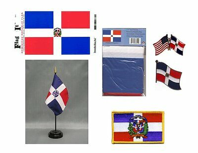 Dominican Republic Heritage Flag Pack - 3x5 Flag, 2 Lapel Pins, Vinyl Decal