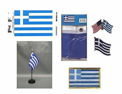 Greece Republic Heritage Flag Pack - Greek 3x5 Flag, 2 Lapel Pins, Vinyl Decal