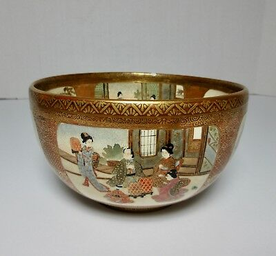 Antique MEIJI JAPANESE SATSUMA EARTHENWARE BOWL ENAMELED GILT SIGNED
