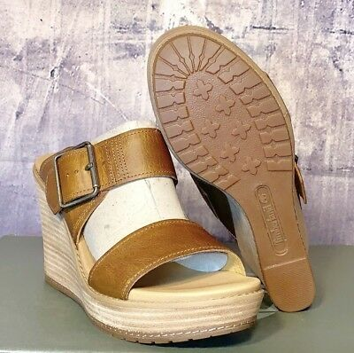cce4fc417a68 Women ShoesTimberland Brenton Buckle Slide Wedge Sandal Tan Brown A1GQB  SIZE 10M
