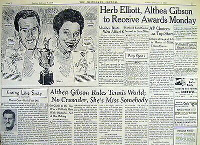 <9 newspaper SPORTS pages ALTHEA GIBSON Tennis BLACK AMERICANA African American