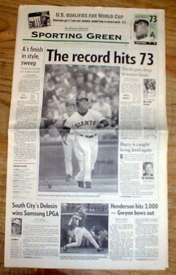 2 best 2001 San Francisco newspapers BARRY BONDS sets HOME RUN RECORD onSTEROIDS