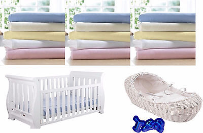 4 x Moses Basket Jersey Fitted Sheet 100% Cotton White 28 x 76 cm