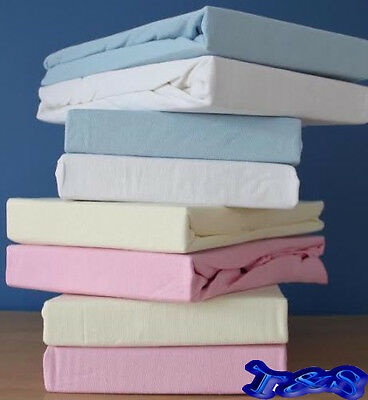 2 x Cot Bed 100% Cotton Thick Jersey Fitted Sheet Toddler Bed Size 70cm x 140cm