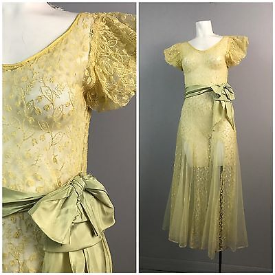 Vintage 1930s Yellow Sheer Lace Short Sleeves Full Maxi Dress Gown Art Deco S