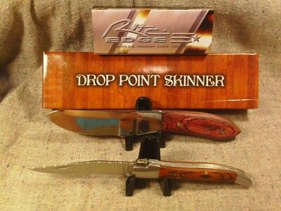 "Lot of 2 Knives Drop Point Skinner 7"" w/Sheath & French Toothpick 4"" w/File Work"