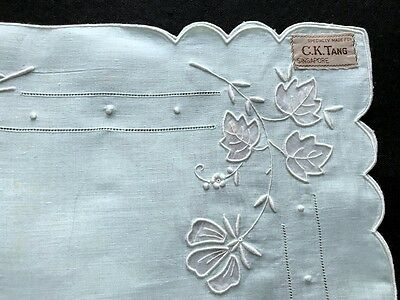 Exceptional Aqua Blue Runner Embroidery Aplique Work in White Drownwork 36 x 15