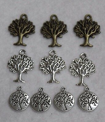 Silver Tone, Bronze Tree Of Life Beads Charm Pendant Jewelry Findings