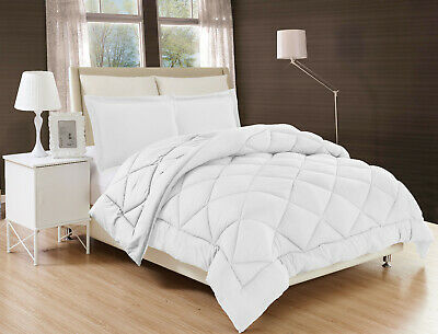 3PC Cotton Down Alternative White Comforter Bed Cover Set With Pillow Shams 899
