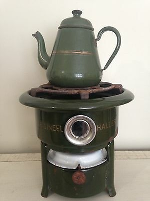Rare Antique Porcelain Green Enamel Origineel Haller Stove w Coffee Pot & Lid