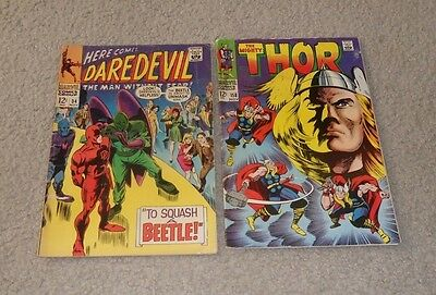Daredevil #34 The Mighty Thor #158 Marvel comics lot SILVER AGE, readers