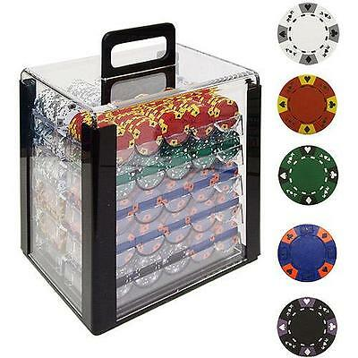 Trademark Poker 1000 14 Gram Tri-Color Ace/King Clay Chips with Acrylic Case