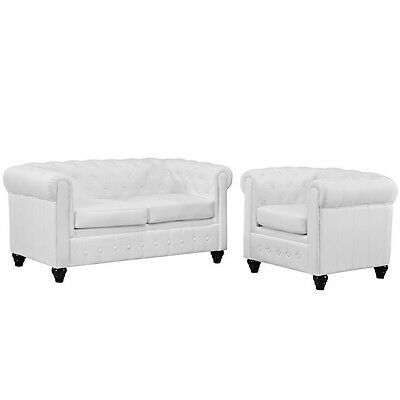 Earl 2 Piece Upholstered Vinyl Living Room Set, White