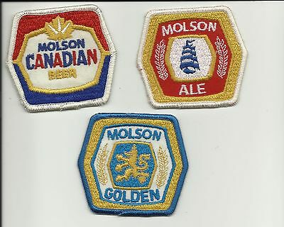 3 different Vintage Molson Canadian Beer Iron on Patches
