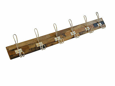 6 Hook Timber Coat Rack with Metal White Coloured Hooks