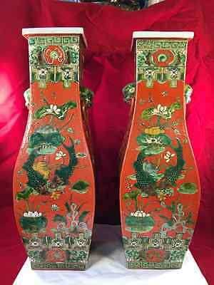 Rare Pair Of Chinese Porcelain Orange Vases With Foo Dogs Handles