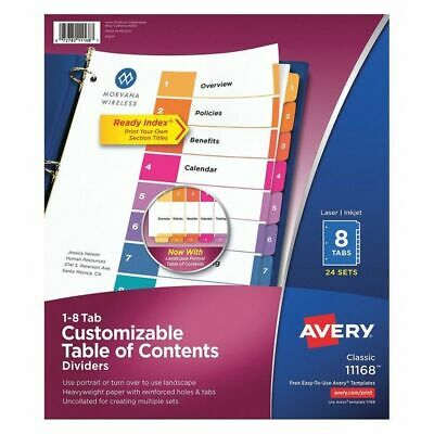 AVERY 11168 Table of Contents Index Dividers 8 Tab, PK24