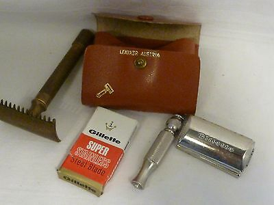 antique men's silver Gillette Razor, blade & box in Leather Case w/ brass razor