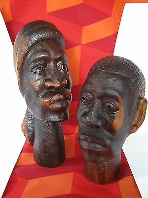 """Mid-Century Jamaican""""Gwen""""&""""Jacr"""" Hand Carved Wood Heads/Sculpture-by W. Cameron"""