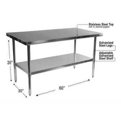 """Stainless Steel Table,60""""x30""""x35"""",Silver ALERA ALEXS6030"""