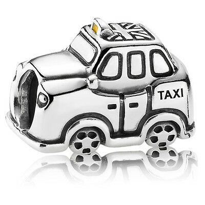 New Authentic Pandora Charm Yellow Enamel Taxi Car 791221EN20 W Tag & Suede Pouc