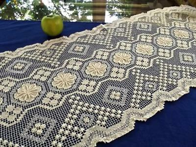 Antique Italian Off-White Hand Knotted Net Darned Filet Lace 16x50 Table Runner