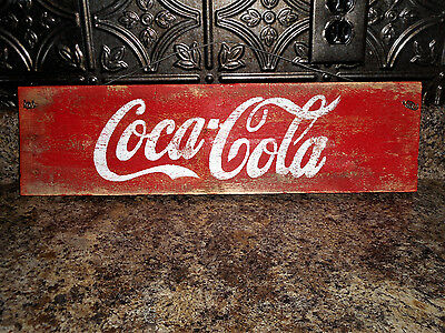 New Coca Cola Wooden Sign With Old Wire Hanger Vintage Look