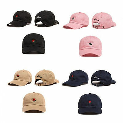 The Hundreds Dad Hat Flower Rose Embroidered Curved Brim Baseball Cap Visor Hat