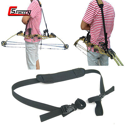 Archery Hunting Crossbow Compound Recurve Bow Sling Padded Shoulder Strap Black