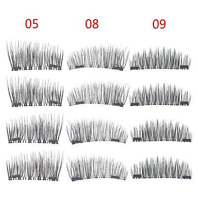 3D Dual Magnetic False Eyelashes Eye Lashes Handmade 4X /2 Pairs SET