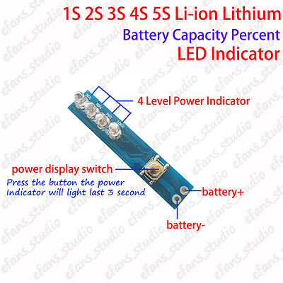 1S 2S 3S 4S 5S Lithium Li-ion 18650 Battery BMS Capacity Level LED Indicator
