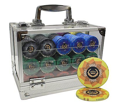 600pcs LAUREL CROWN CERAMIC POKER CHIPS SET ACRYLIC CASE CUSTOM BUILD by MRC