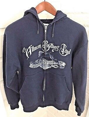 Allman Brothers Band Campaign 2008 Full Zip Hoodie Sweatshirt Blue Size Small S