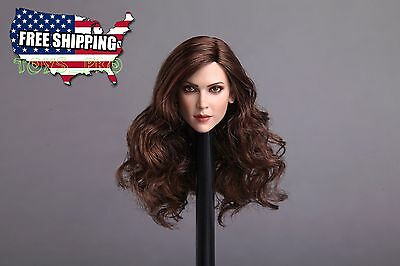 1/6 Female Head Sculpt PALE Long Brown Hair For Hot Toys Phicen Figure ❶USA❶