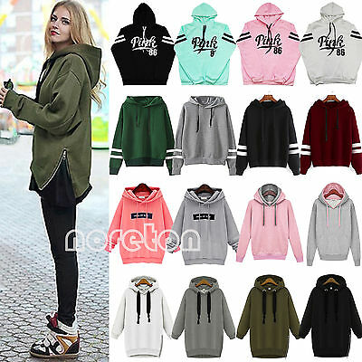 Womens Long Sleeve Hoodies Sweatshirt Hooded Sweater Jumper Pullover Tops Coat