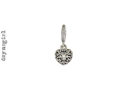 Authentic / Genuine Pandora Intricate Heart Lock Hanging Charm (791876CZ)