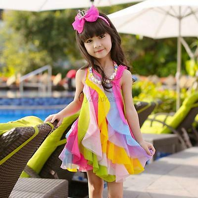 Summer Kids Baby Girls Rainbow Color Princess Party Beach Pageant Dress 3-10T