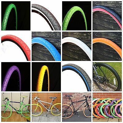Curio Uk Slick Tyres 26 X 2.10 Coloured Tyres Red Blue Yellow Blue