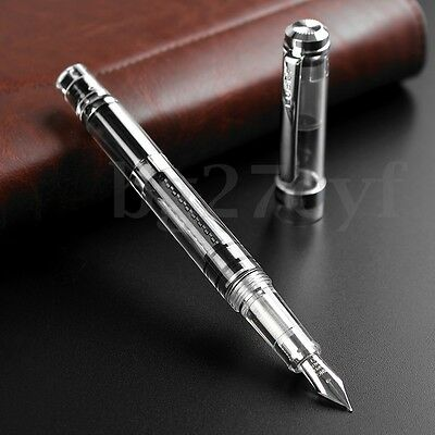 Wing Sung 698 Clear Demonstrator Fountain Pen 0.38mm/0.5mm Nib + Pouch Gift